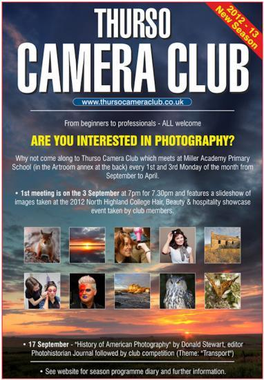 Photograph of Thurso Camera Club  - Next Meeting 17th September