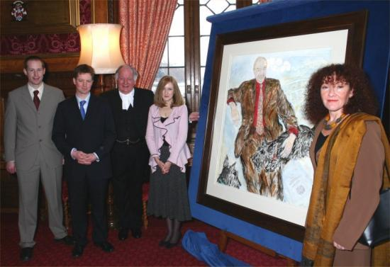 Photograph of Artist Fionna Carlisle From Wick Attends Unveiling Of Robin Cook Painting
